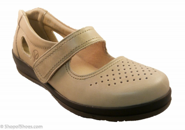 Farlow Ladies beige Extra Wide easy access velcro summer Shoe 4E-6E